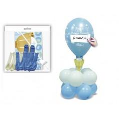 Centro de globos para comunión en azul