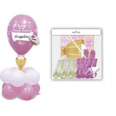 Centro globos para decoración comunión en rosa