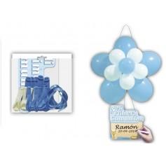Globos flor azul para comunión