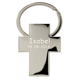 Llavero personalizado con forma de cruz para bautizos y comuniones