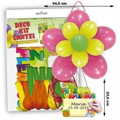 Kit globlos cartel feliz cumpleaños