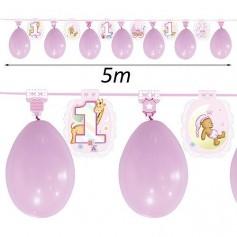 Guirnalda con globos para cumpleaños niña 1 año