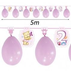 Guirnalda con globos para cumpleaños niña 2 años