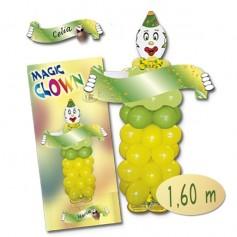 Kit de payaso con globos verdes y amarillos