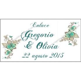 Etiqueta motivos florales abanico90140