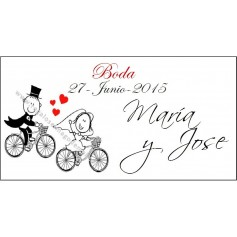 Etiqueta novios bici como abanico 90128