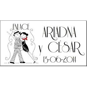Etiqueta boda tango