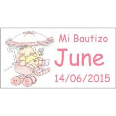 Tarjeta Bautizo silla de paseo
