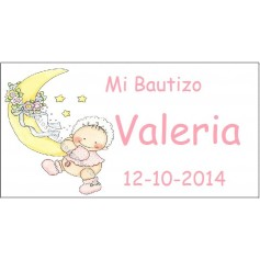Tarjeta Bautizo luna nena
