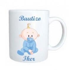 Taza de regalo para bautizo personalizada bebe azul