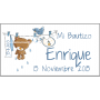 Etiqueta Bautizo osito colgado azul