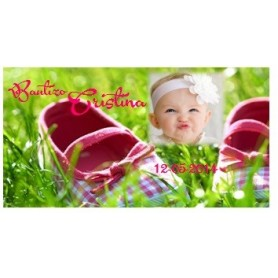 Tapa bautizo zapatillas rosa