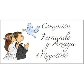 Etiqueta comunion niños con paloma