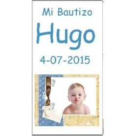 Etiqueta con foto Bautizo marco huellas niño