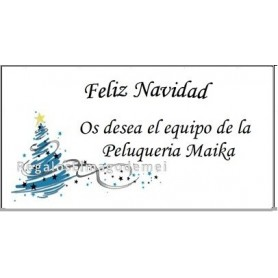 Etiqueta Navidad arbol azul