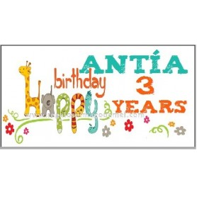 Etiqueta cumpleaños happy animales