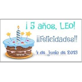 Etiqueta cumpleaños tarta