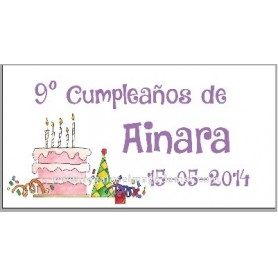 Etiqueta cumpleaños tarta y confettis