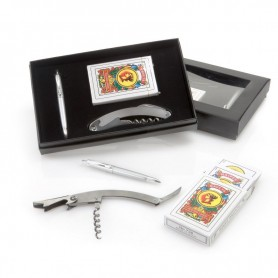 Estuche con cartas+abridor de metal+bolígrafo