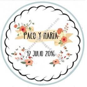 Etiqueta de boda flores y banda
