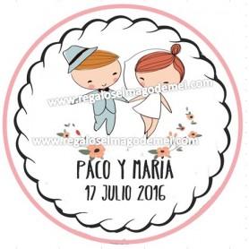 Etiqueta de boda novios de las manos
