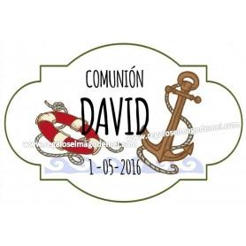 Etiqueta de comunion ancla y salvavidas