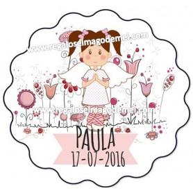 Etiqueta de comunion niña con flores