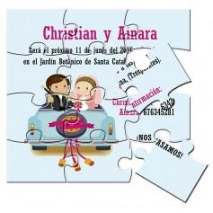 Puzzle para invitación de boda coche novios