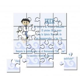 Invitación de Comunion en puzzle niño