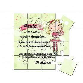 invitación de comunión puzzle niña con ramo