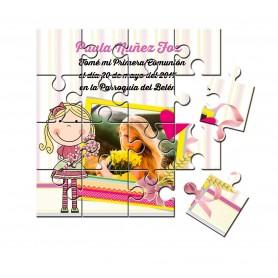Recordatorio de comunion en puzzle niña con ramo