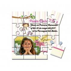 Recordatorio comunion en puzzle niña con foto columpio en lata con abre facil