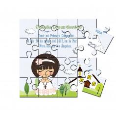 Recordatorio de comunion en puzzle para niña iglesia