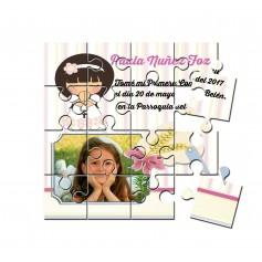 Recordatorio de comunion en puzzle de niña espiga