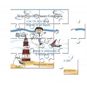 Invitación de Comunion en puzzle de niño