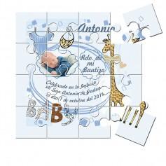 Recordatorio con foto de Bautizo en puzzle