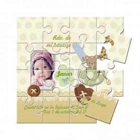 Recordatorio de bautizo con foto en puzzle