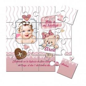 Recordatorio con foto niña de Bautizo en puzzle