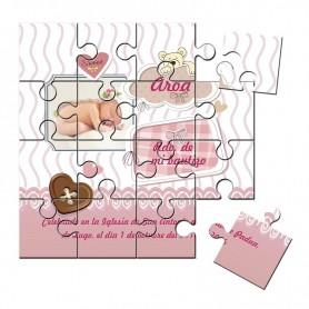 Recordatorio de niña con foto de Bautizo en puzzle