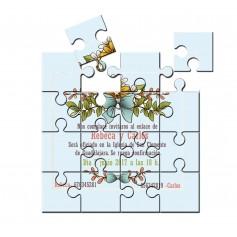Puzzle para invitación de boda flores