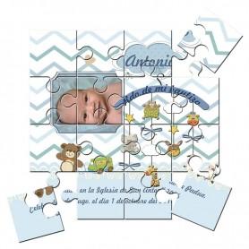 Recordatorio con foto de Bautizo niño en puzzle