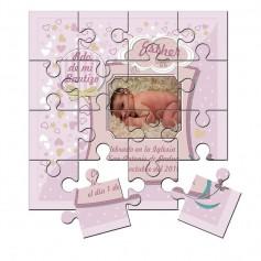 Recordatorio con foto de Bautizo niña en puzzle