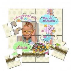 Recordatorio con foto de Bautizo unisex en puzzle