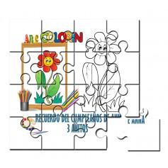 Puzzle para pintar infantil flor