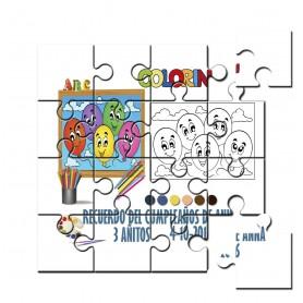 Puzzle para pintar infantil globos