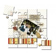 Invitacion de boda en puzzle con foto vintage