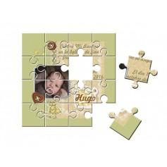 Recordatorio con foto de Bautizo unisex puzzle