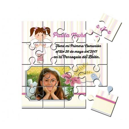 Recordatorio comunion en puzzle niña con foto
