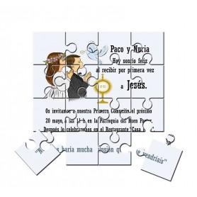 Invitación de Comunion mellizos en puzzle