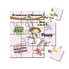 Invitación de Comunion niña columpio en puzzle